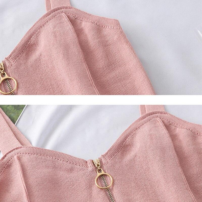 Women Crop Tops Knitting Zipper Camisole
