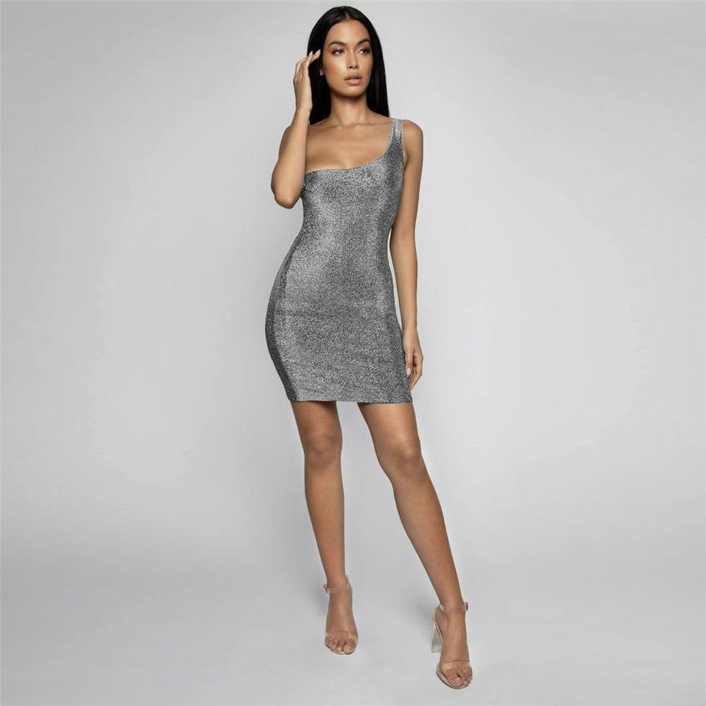 Sexy One-shoulder Shinny Tank Sequined Sparkle Sleeveless Clubwear