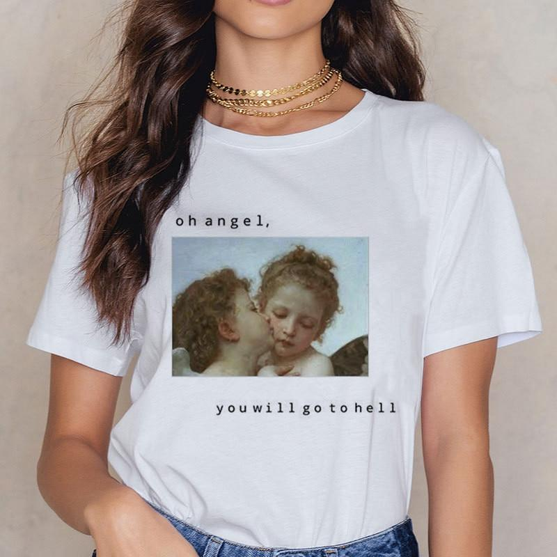 Angel Print 90s Fashion Top