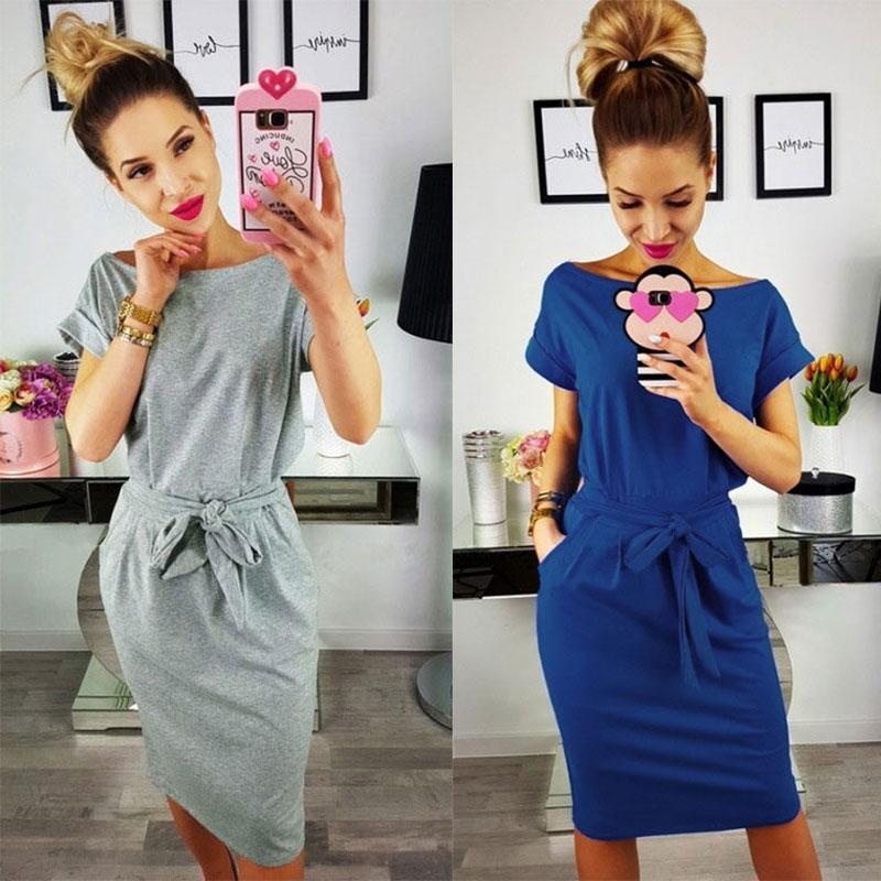 Simple Solid O-neck Short Sleeves Lacing Dress