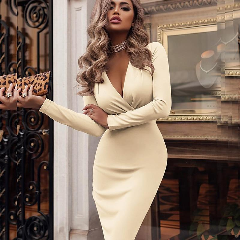 Vintage Long Sleeve Deep V neck Solid Slim Dress