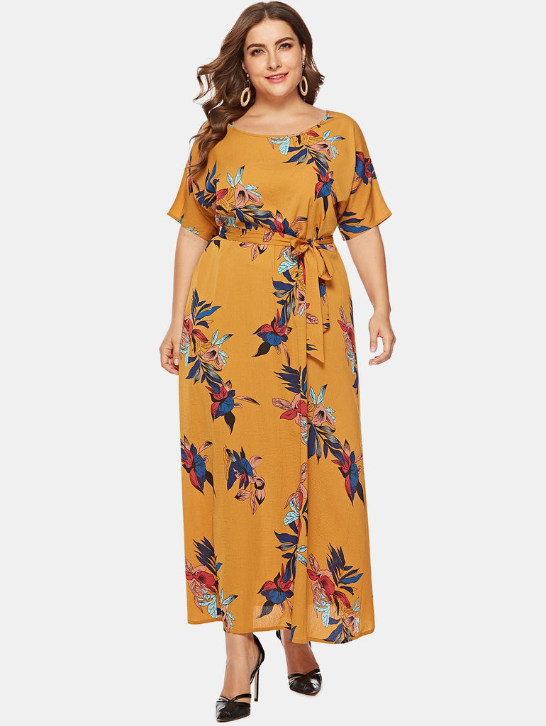Wipalo Women Plus Size 5XL Flower Belted Maxi Dress Ladies O Neck Short Sleeves Casual Straight Dress Summer Big Size Vestidos