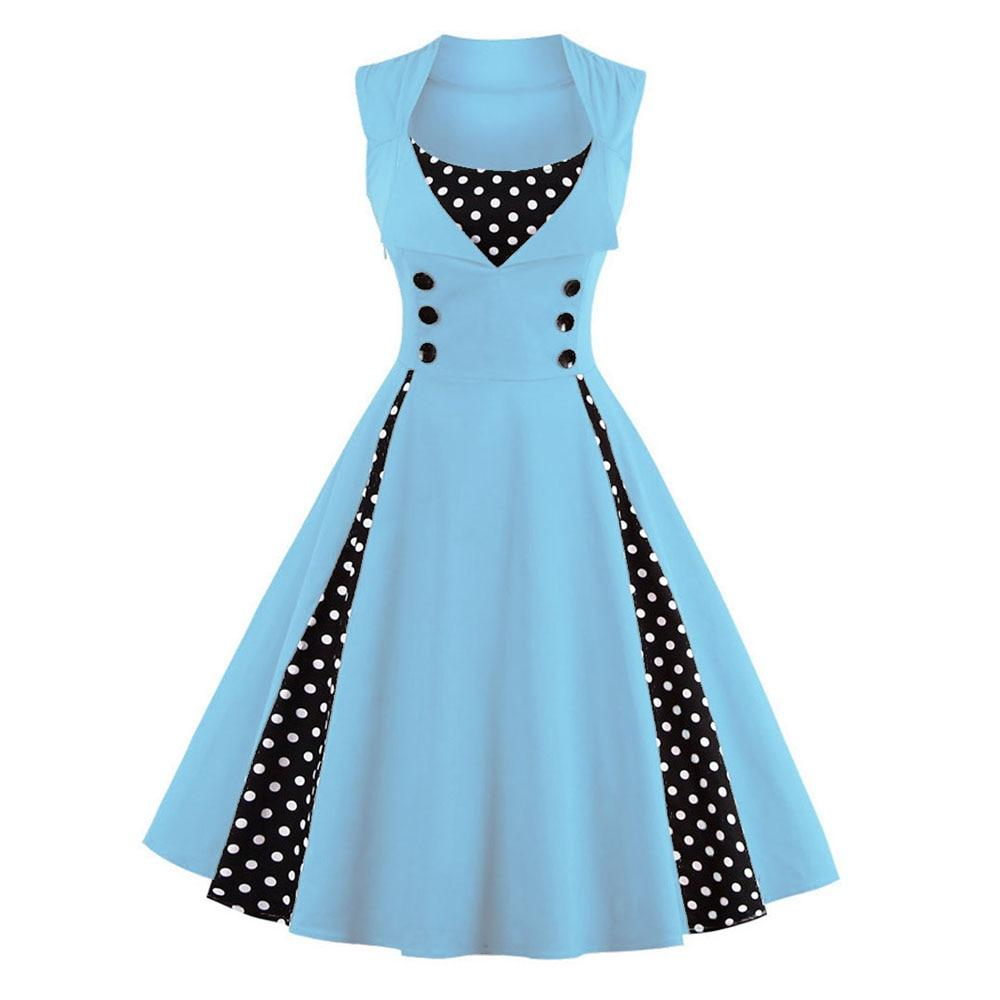Wipalo Plus Size Vintage Women Dress Polka Dot Big Swing Party Dress Sleeveless Knee Length Retro Dress Ladies Summer Vestidos