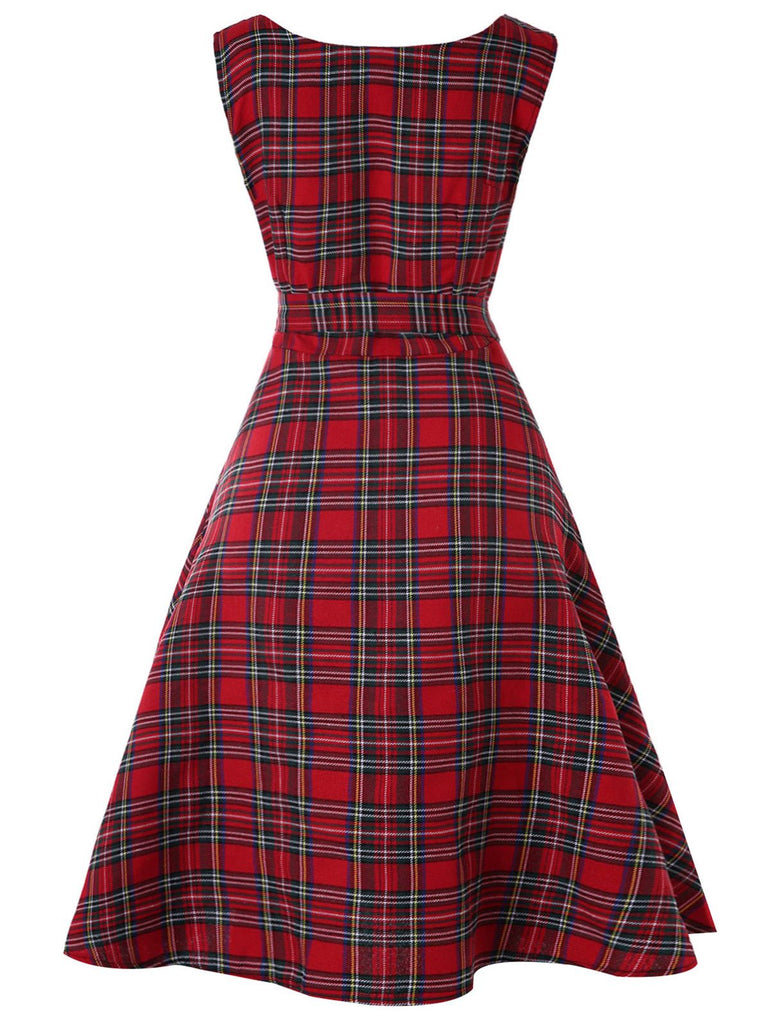Wipalo Vintage Sleeveless Tartan Mid Swing Dress With Belt Knee-Length Round Collar A-Line Plaid Autumn Female Dresses Vestidos