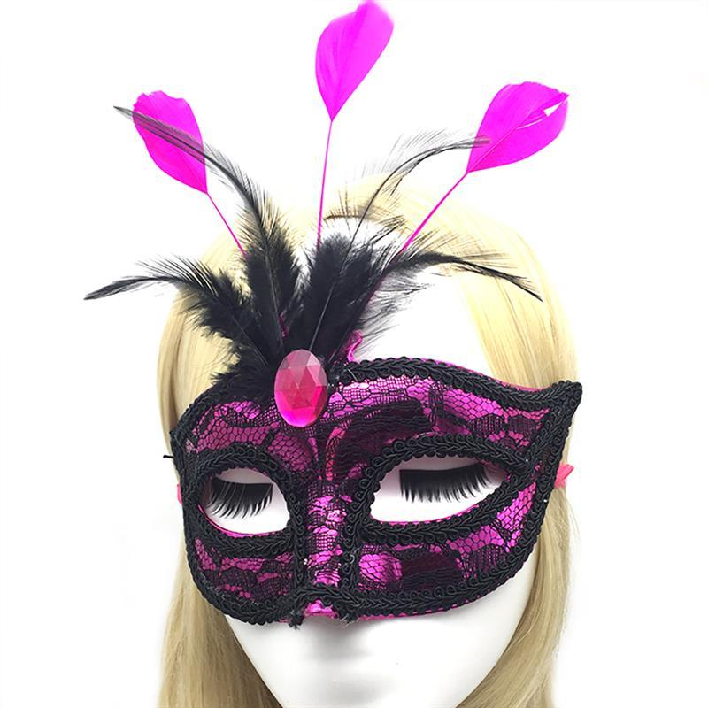 1pc Premium Leather Feather Mask Masquerade Parties Halloween Parties Carnival Masks Dress Costume Lady Gifts Party Masks