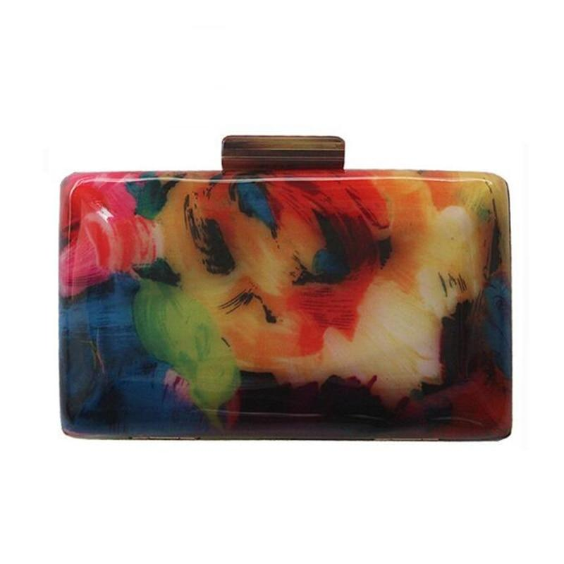 Acrylic Clutch Bag Colorful Printing Random Pattern Bag (as picture)