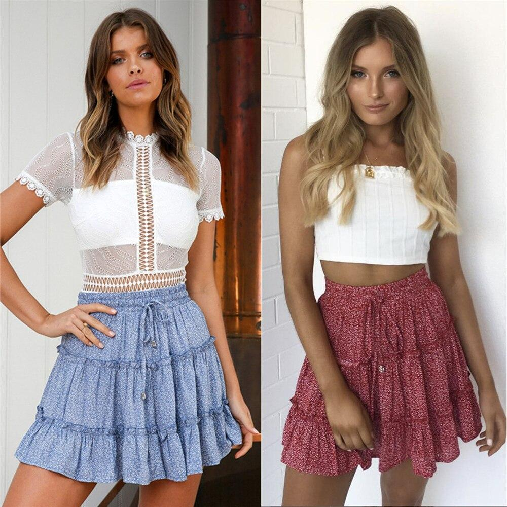 Sexy Women Fashion High Waist Frills Skirt for Women Broken Flower Half-length Skirt Printed Beach A Short Mini Skirts New 2019