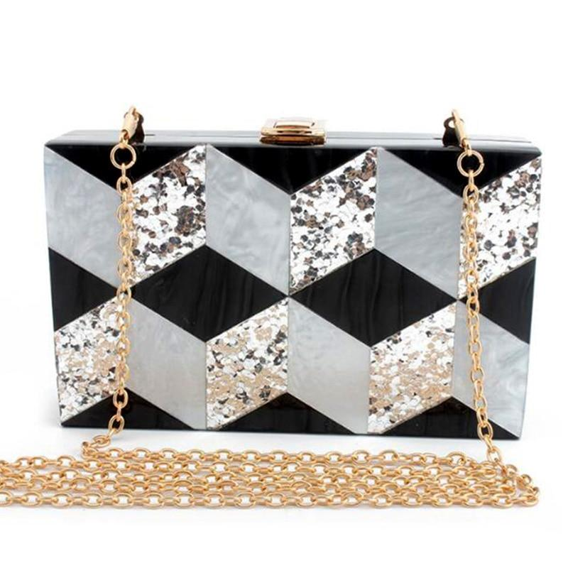 Acrylic Marble Clutch Chain Bag