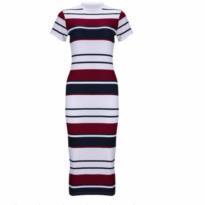 Simple Knitted Stretch Basic Short-Sleeve Striped Bodycon Dress
