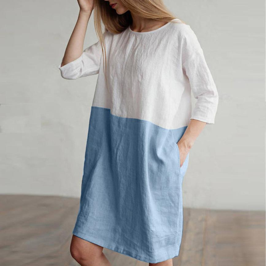 Women Tunic Loose Dress With Large Pockets