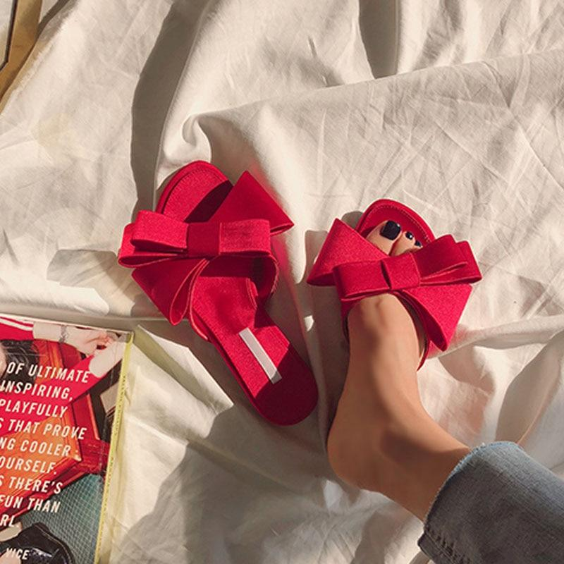 Large Bow Satin Round Head Sandals Wild Slippers