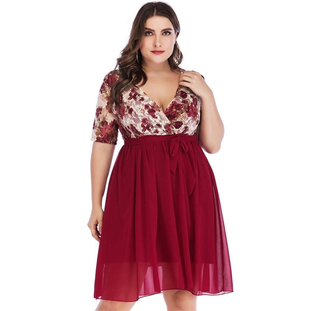 Wipalo Women Plus Size Plunging Neck Short Sleeve A Line Summer Party Dress Floral Print Lace Stitching Chiffon Dress Vestidos