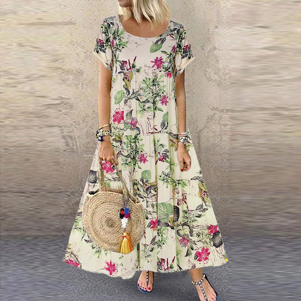 Plus Size Casual Short Sleeve Boho Retro Linen Print Long Maxi Dress