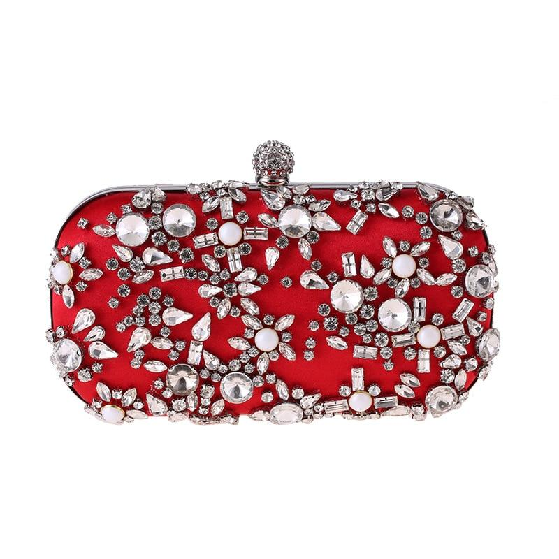 Luxury Water Drop Shape Crystal Decoration Clutch Bag
