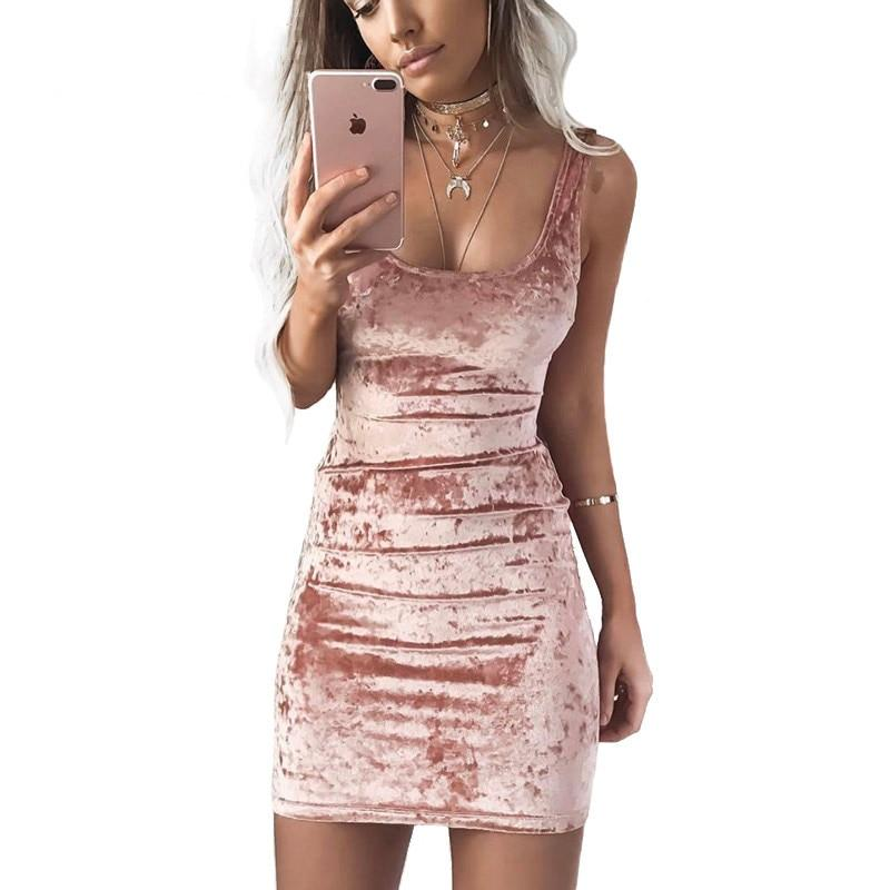 Spring Summer Velvet Vest Dress Sexy Women Square Collar Backless Dress Sleeveless Pink Bodycon Casual Dresses