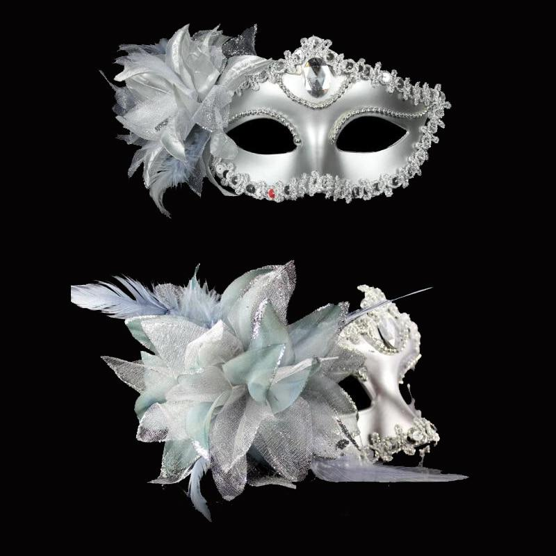 Sexy Diamond Venetian Mask Venice Feather Flower Wedding Carnival Party Performance Purple Costume Sex Lady Mask Masquerade