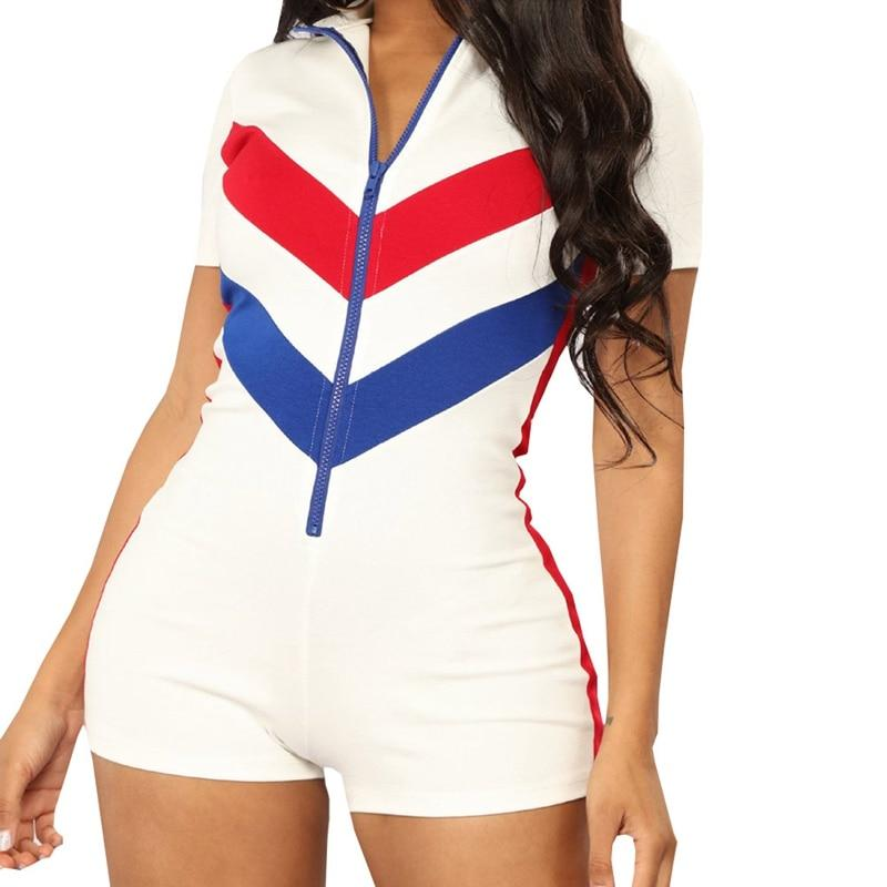 Sexy Zipper Short Sleeve Stitching Color Shorts Playsuit