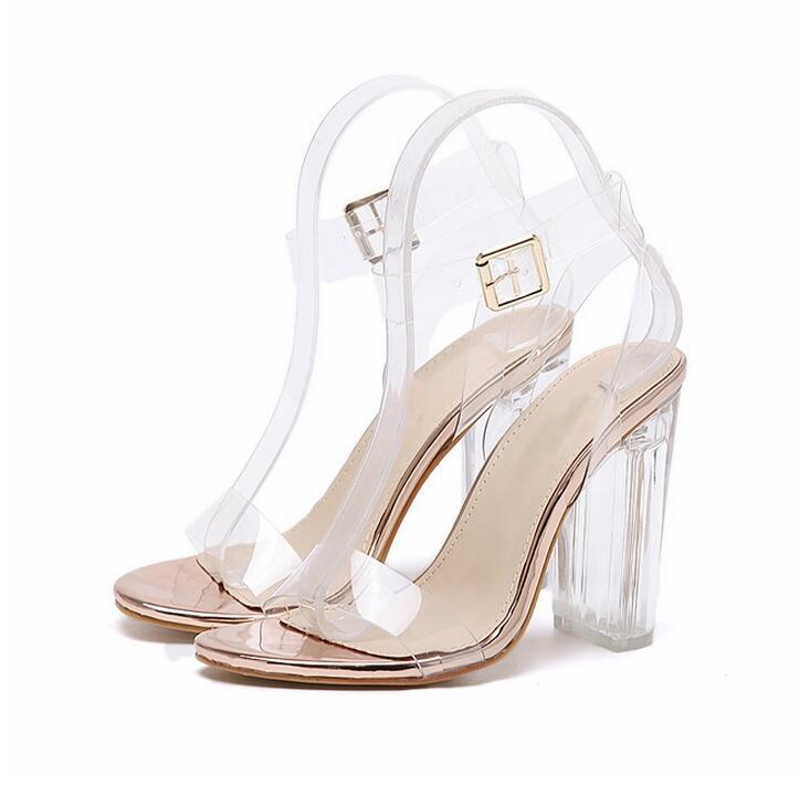 PVC Clear Crystal Concise Ankle Strap High Heels Sandals