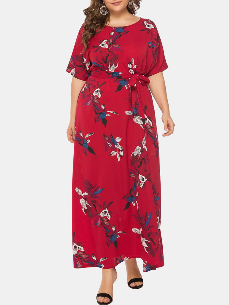Flower Belted Maxi Plus Size Dress