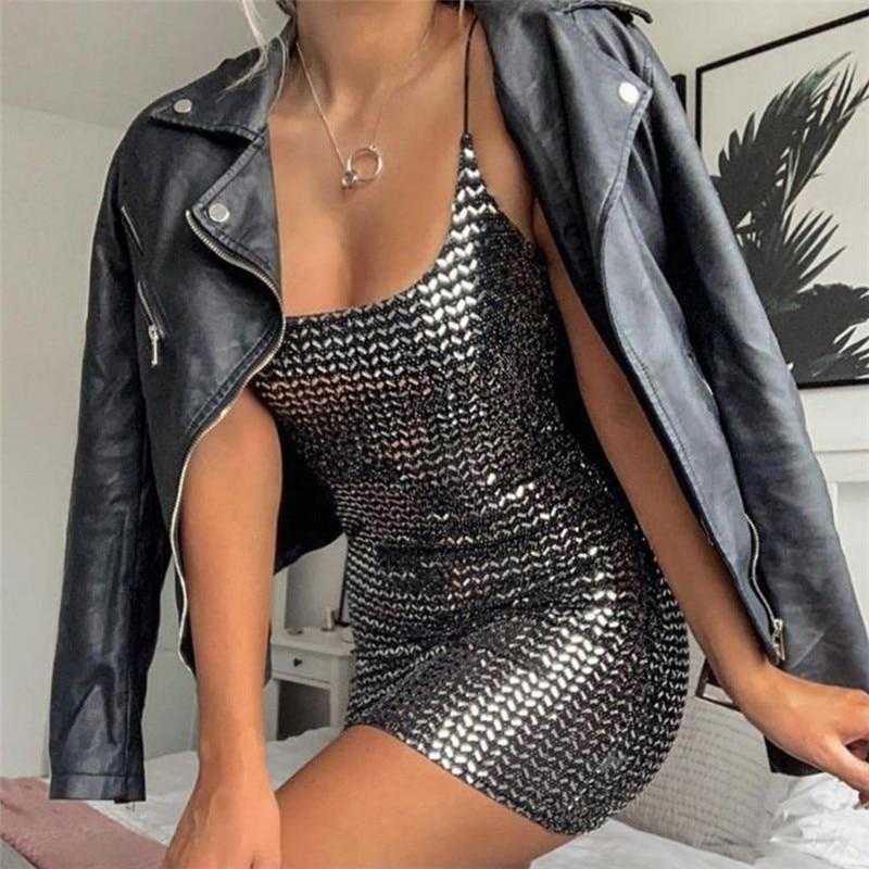 Party High Waist Sequin  Reflective Bodycon Dress