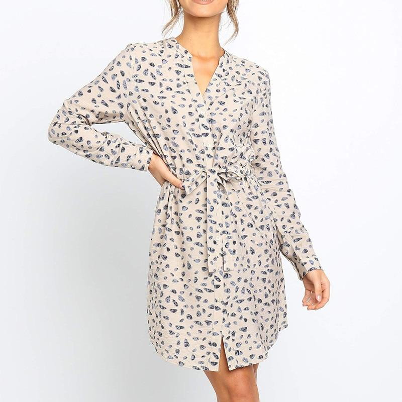 Floral Print Long Sleeve Shirt Dress For Women
