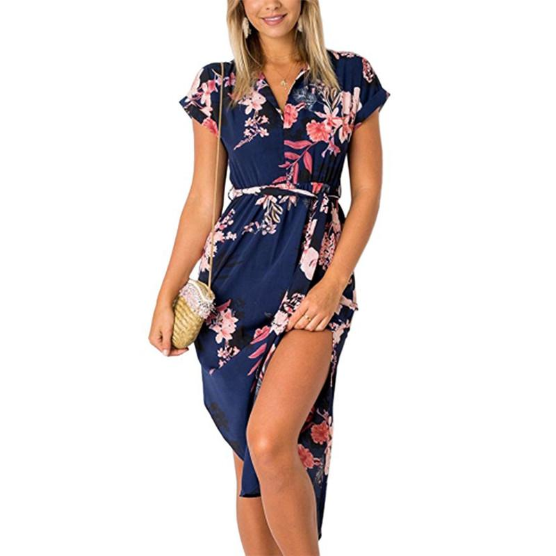 Boho Summer Dress Vintage Print Bandage Bodycon Dress
