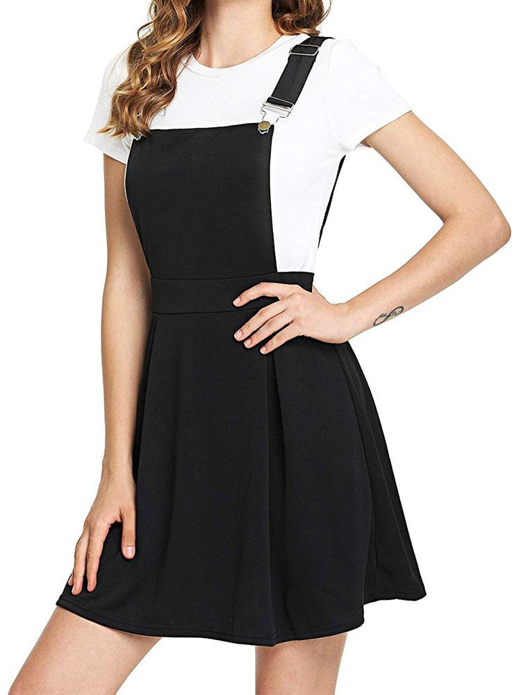 Sleeveless Zip Up Back Black Pleated Overall Dress