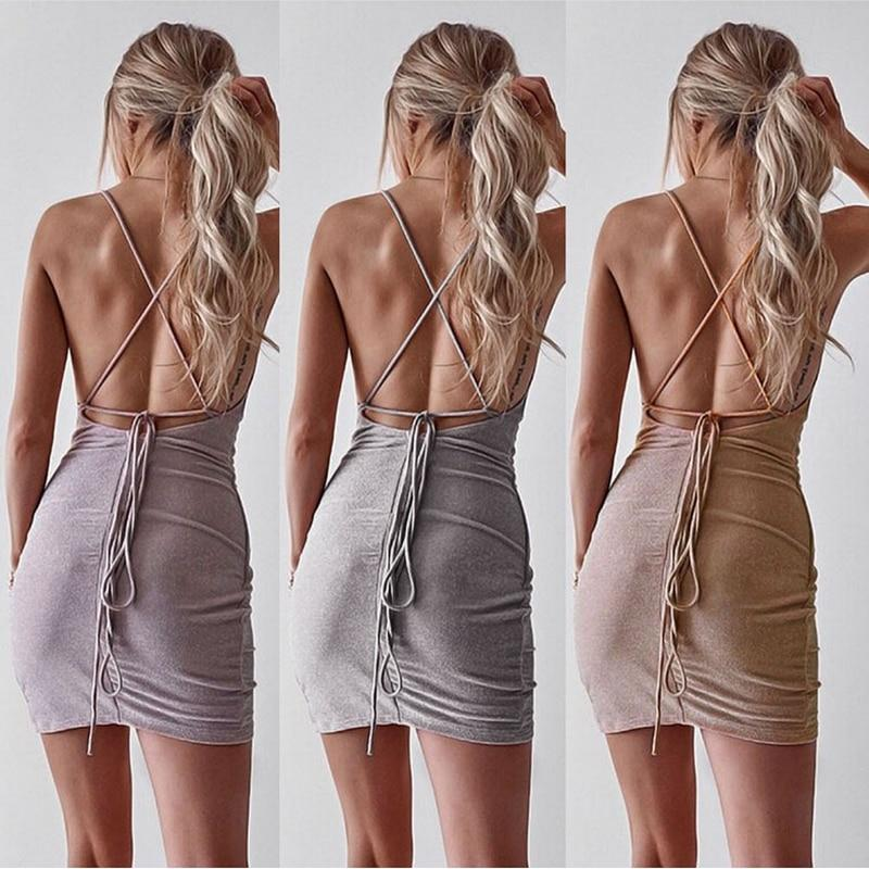Sequined Sparkly Backless Bandage Sleeveless Club Mini Dress