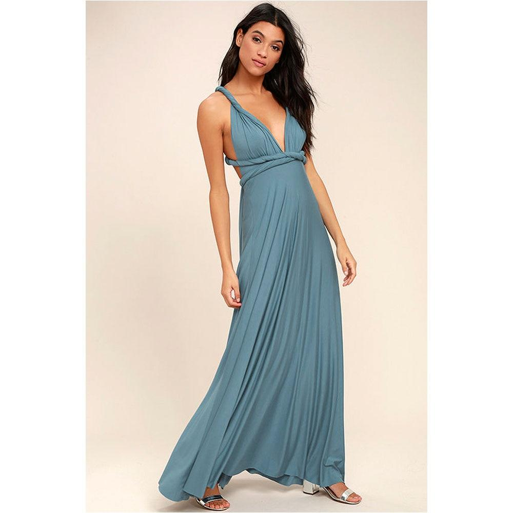 Women Maxi Dress Solid Color Bandage Party Long Dress
