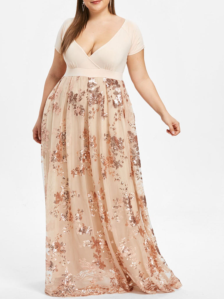 V-Neck  Plus Size Robe Floral Sparkly Long Maxi Dress