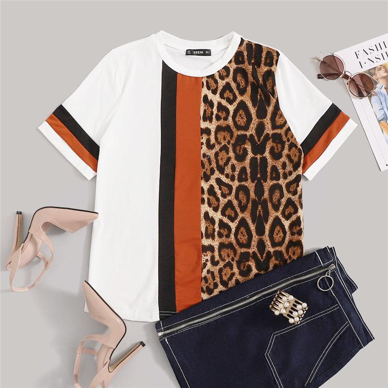 Color Block Leopard Panel Short Sleeve O-Neck Top