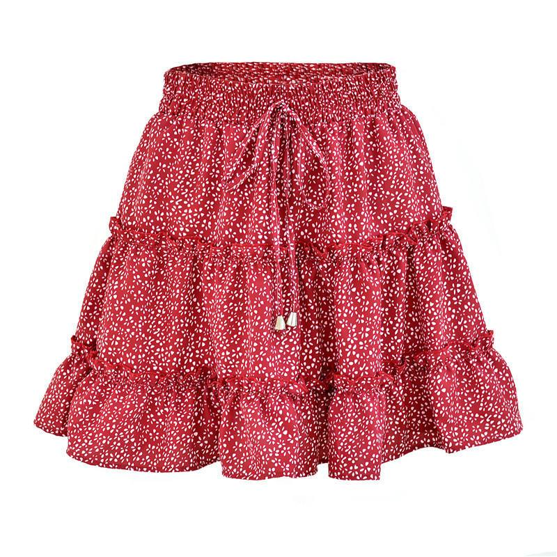 Flower Printed Half-length Skirt Fashion High Waist Frills Mini Skirt