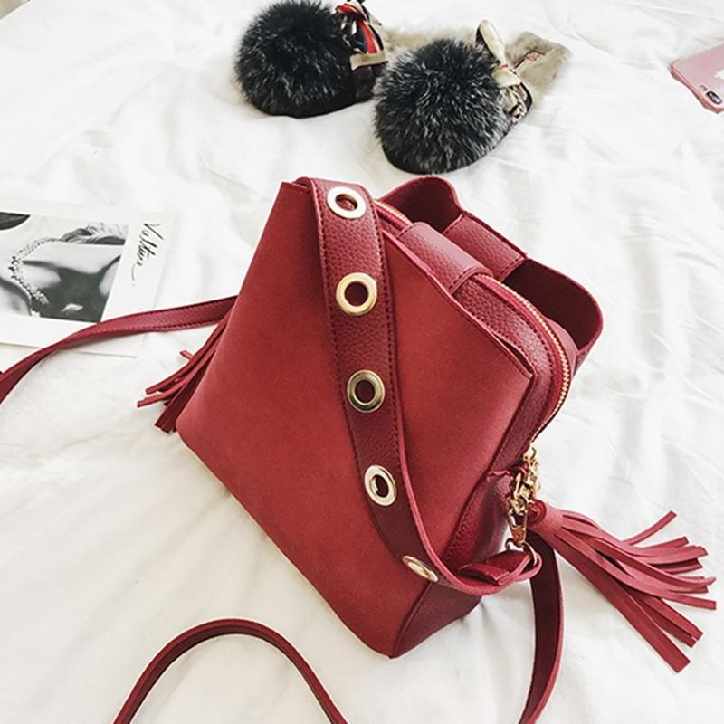 Fashion Scrub Women Bucket Bag Vintage Tassel Messenger Bag