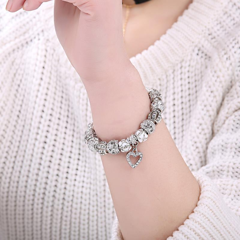 Silver Color Heart Charms Bracelet Bangle For Women