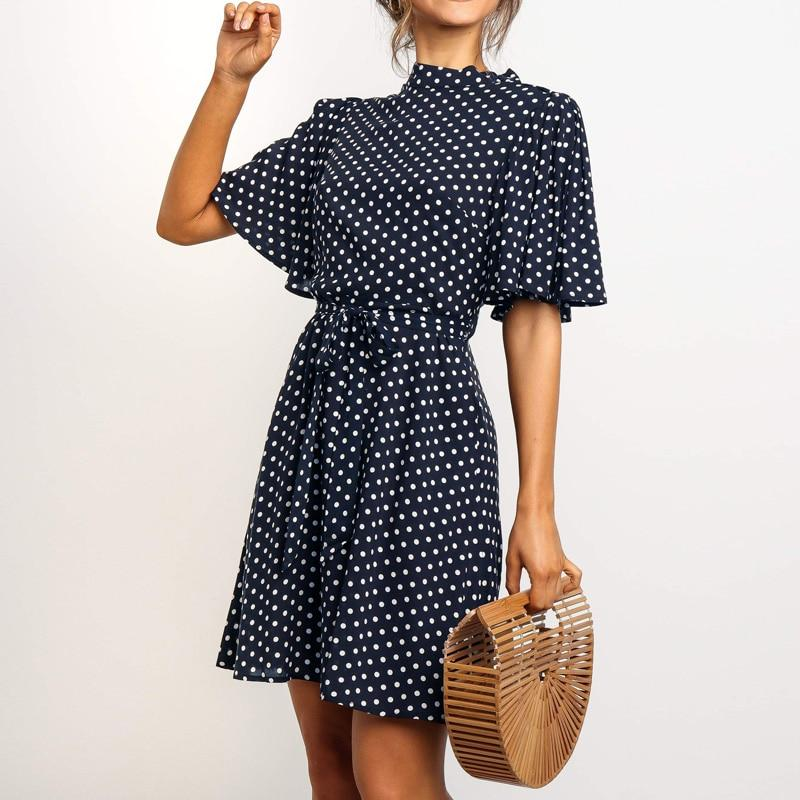 2020 Polka Dot Dress Women Summer Boho Beach Chic Mini Dress Casual Short Sleeve Ladies Office Elegant Dress Vestido Mujer