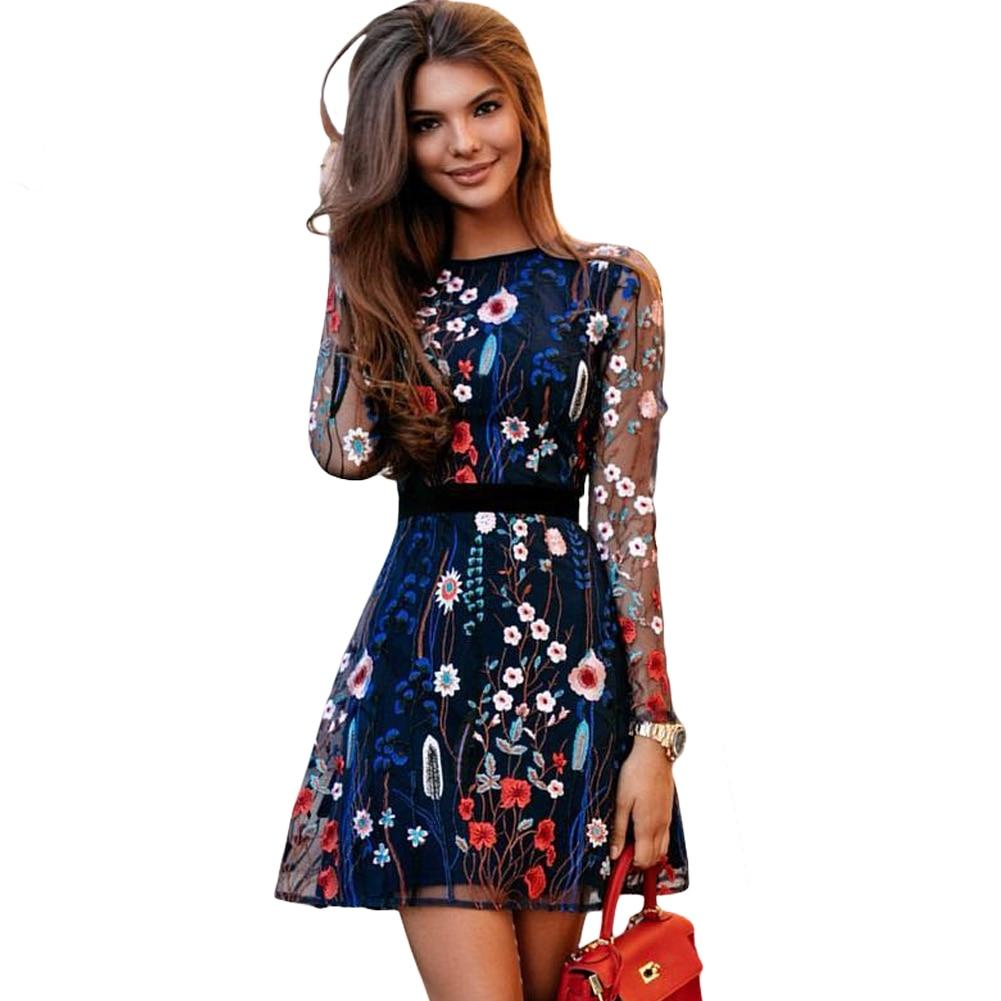 See-through A-line Dress Sheer Mesh Floral Embroidery Dress