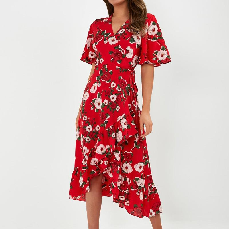 Vintage Floral Print Ruffles Hem Dress Sexy Slit V-neck Wrap Long Dress