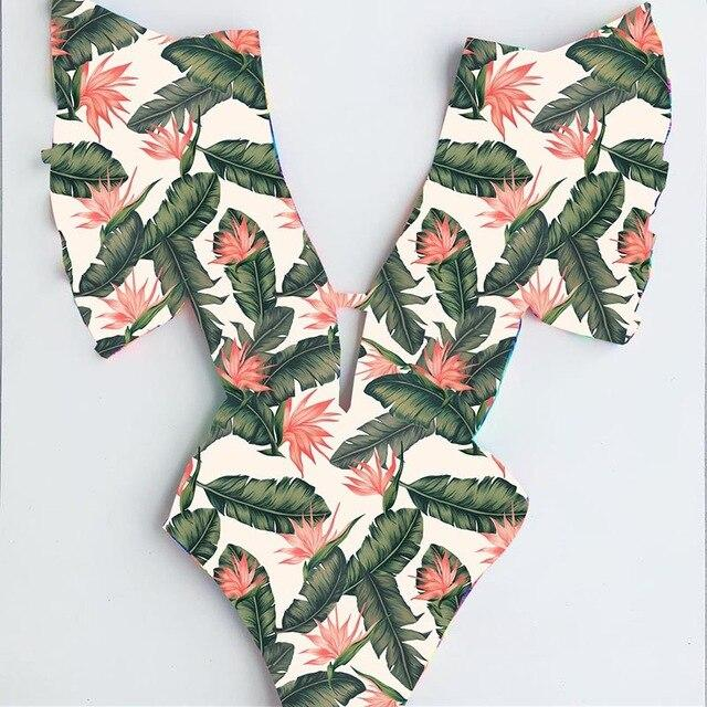 Sexy One Piece Swimwear Floral Deep-V Bathing Suit