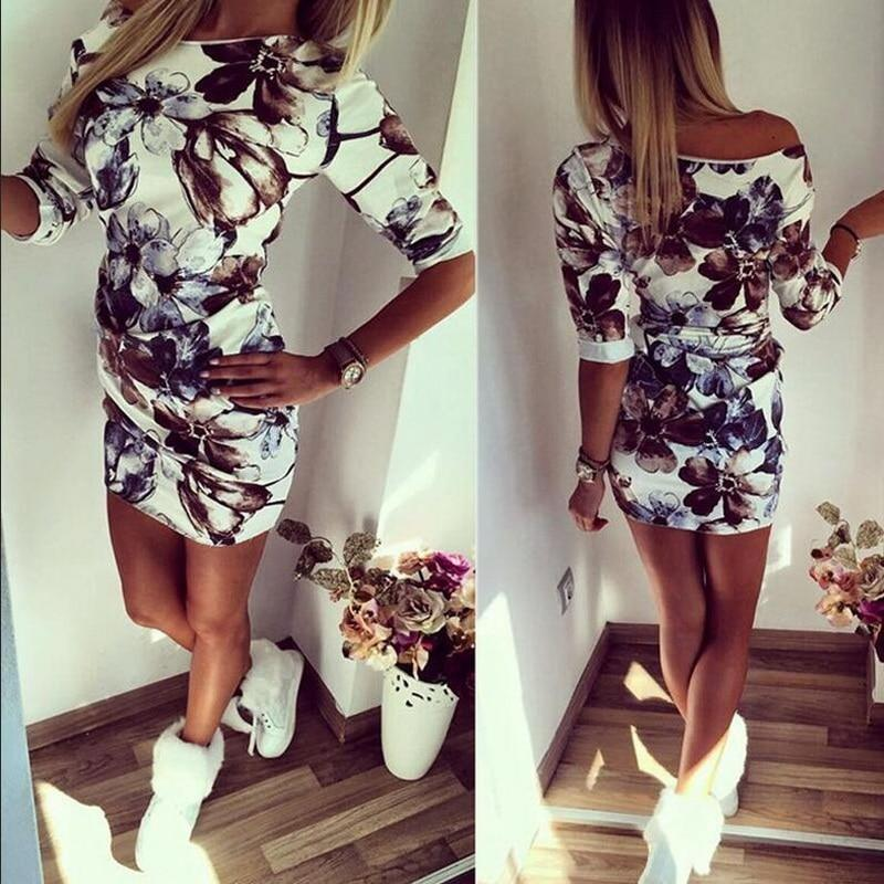 Women Summer Vintage Dress Middle Sleeve Floral Printed Ladies Dress Bodycon Casual Elegant Mini Pencil Dress Women