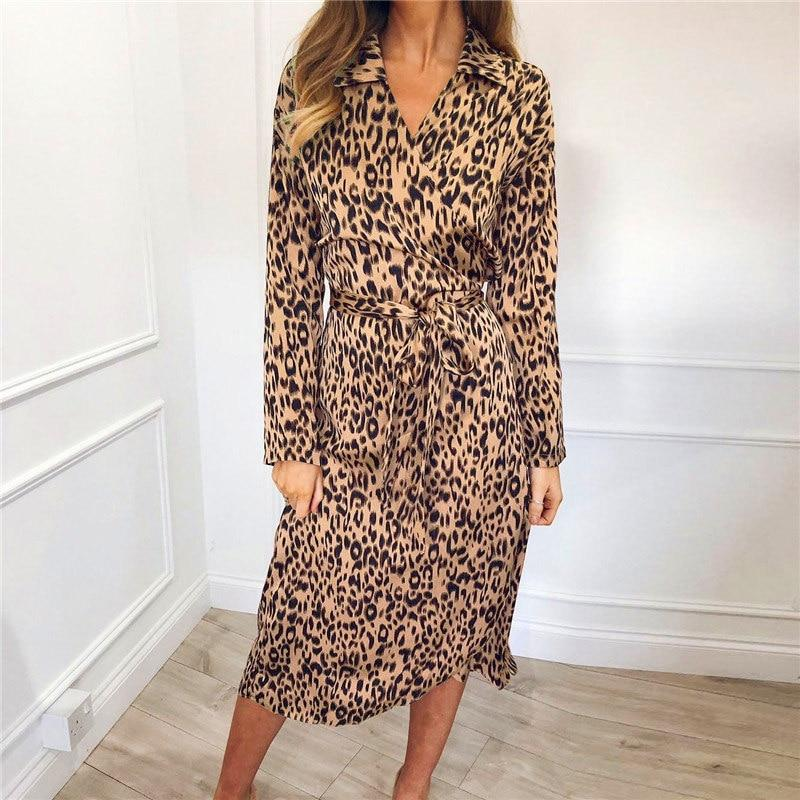 Women Leopard Bandage Long Dress