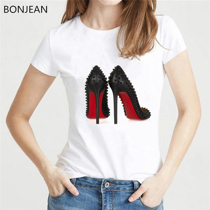 Watercolor High Heels Shoes Print Vogue T-shirt