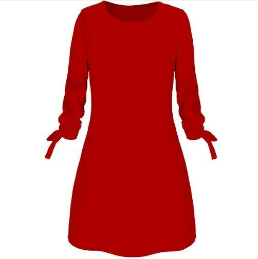 Solid Color Dress Casual O-Neck Loose Dresses 3/4 Sleeve Bow Dress
