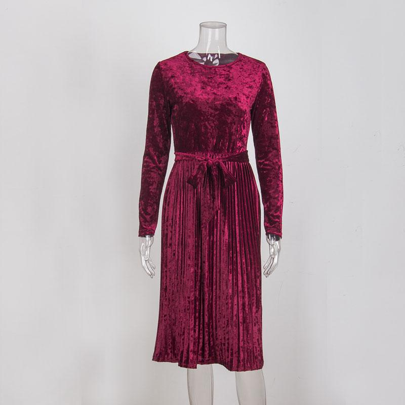 Vintage Long Sleeve Velvet Belted Midi Dress