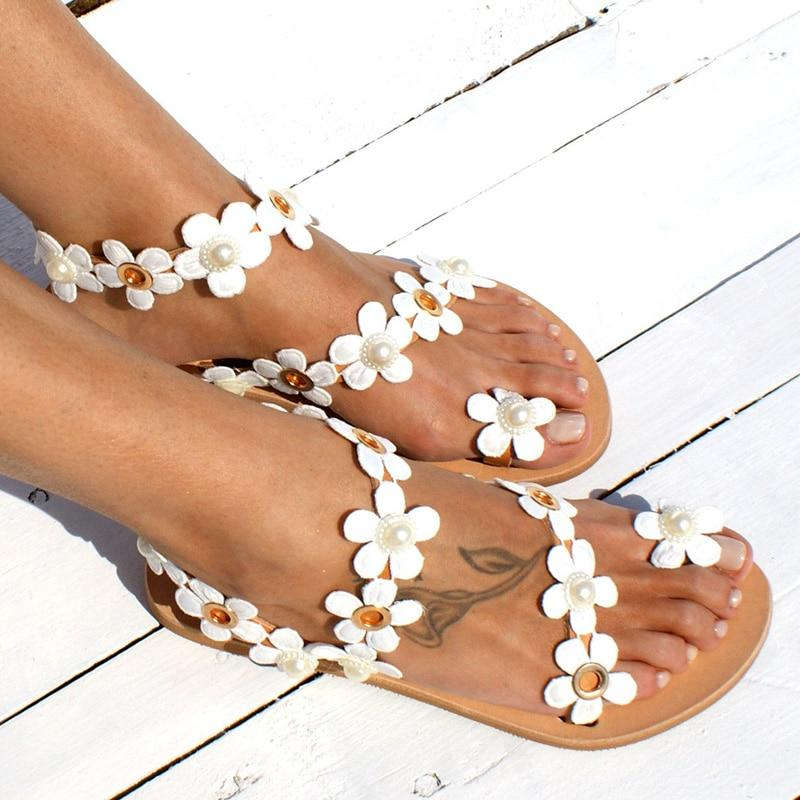 Bohemia Style Flowers Flat Flip-flops For Women
