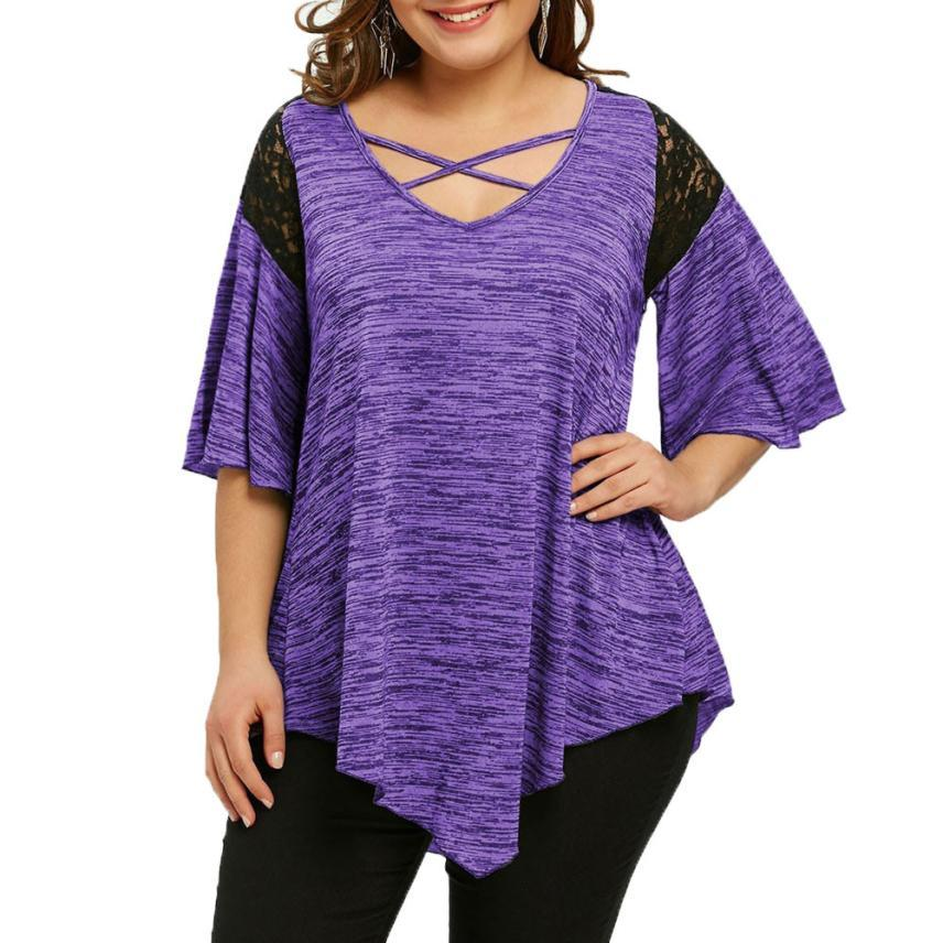 Plus Size T-shirt Asymmetric Tunic  Lace Flare Sleeve Top