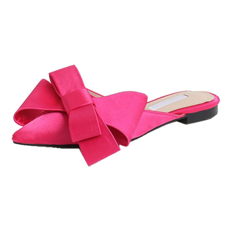 Silk Satin Pointed Bow Tie Semi Slippers