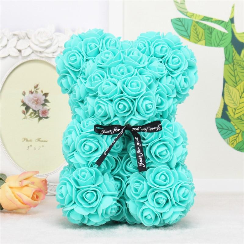 DIY 25 cm Teddy Rose Bear With Box Artificial PE Flower Mother's Day Gift