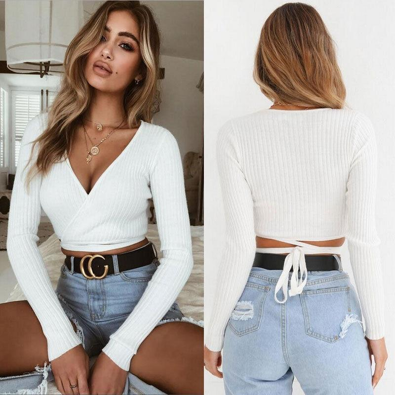 Slim T-shirt Long Sleeve Cross V-neck Sexy Crop Top