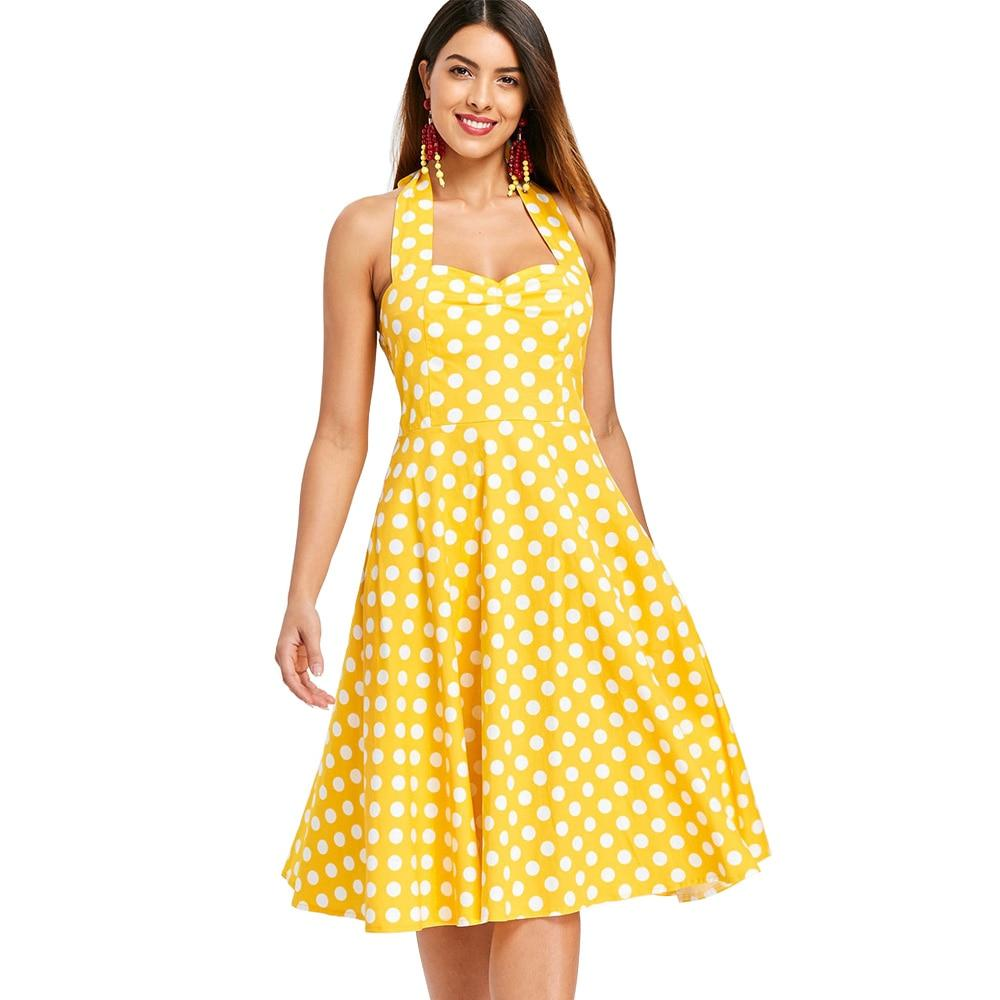 Vintage Yellow Polka Dot A-Line Halter Party Dress