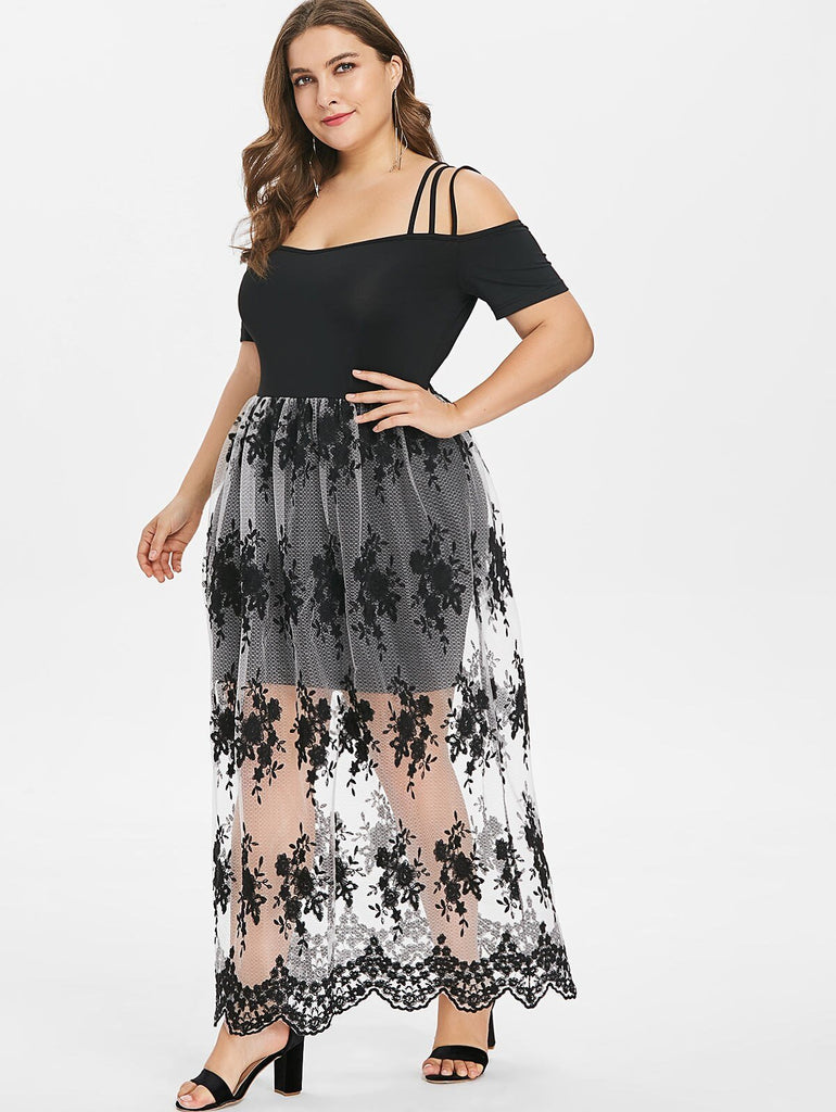 Wipalo Plus Size 5XL Floral Embroidery Scalloped Maxi Dress Cold Shoulder Ankle-Length See Through Spaghetti Strap Vestidos